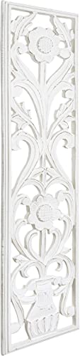 American Art Decor Hand-Carved Floral Wood Panel Wall Art Decor Hangs Horizontally or Vertically Wood Medallion Wall Art White 48″ x 12