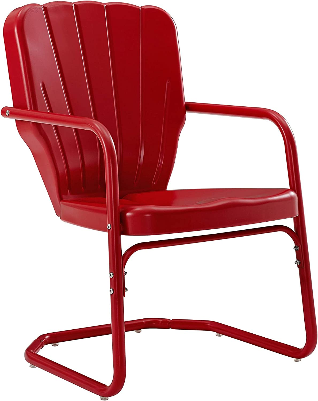 Crosley Furniture CO1031-RE Ridgeland Retro Metal Chair, Red