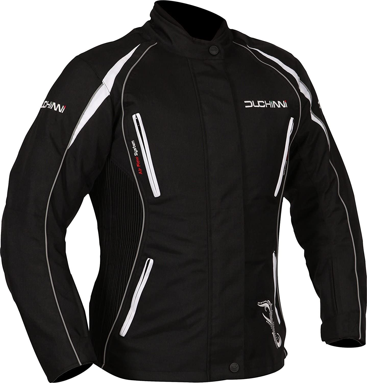 DUCHINNI Womens 4 Season Motorcycle Jacket Black//White, US 12//UK 16