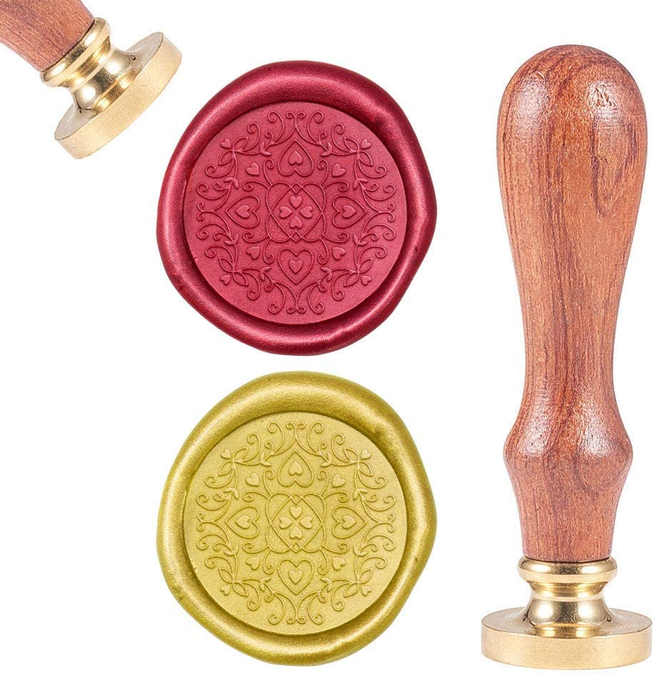 CRASPIRE Wax Seal Stamp Heart Geometric Flower, Sealing Wax Stamp Retro Wood Stamp Wax Seal 25mm Removable Brass Head Wood Handle for Party Wedding Invitation Envelope Greeting Card Wine Bottle Decor