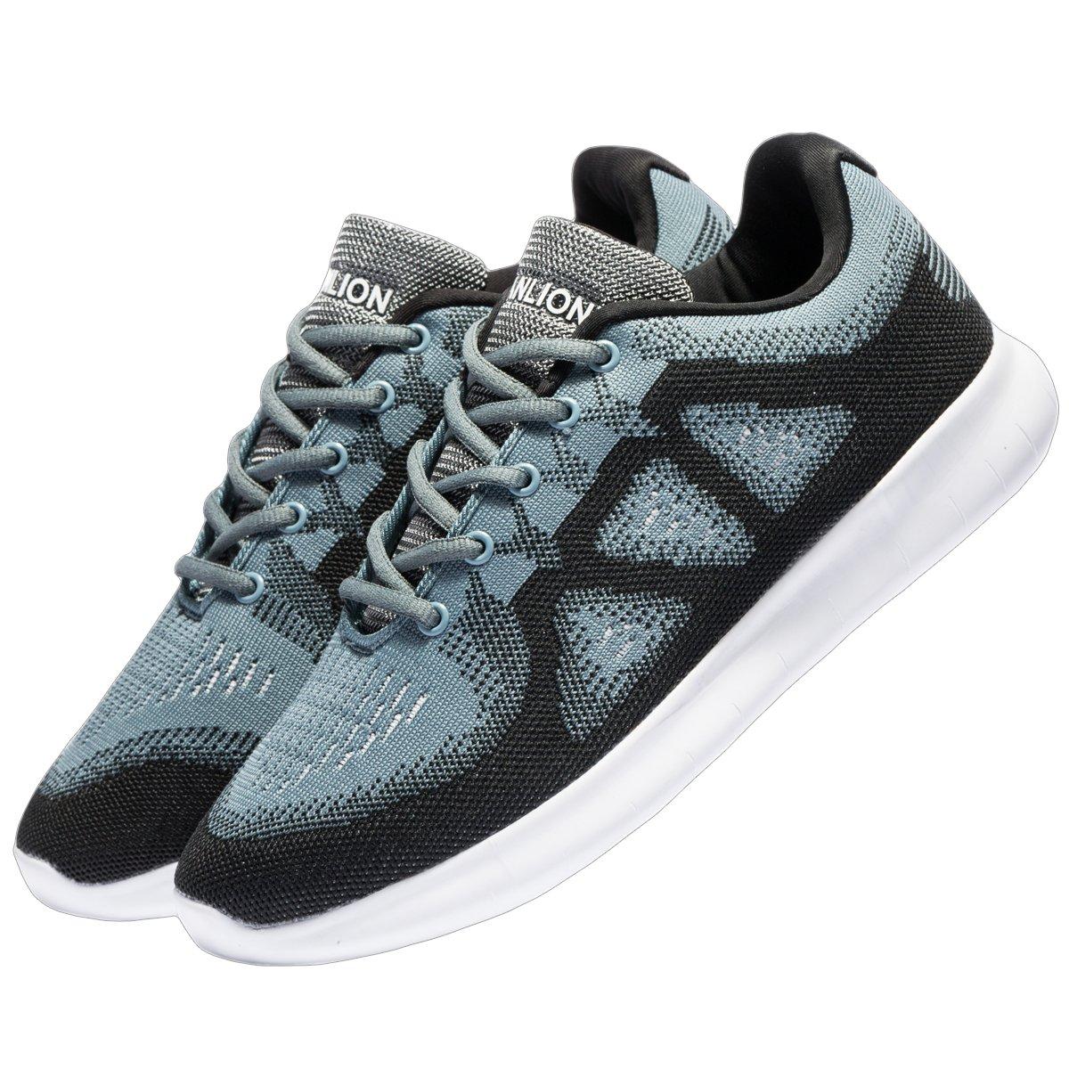 sanlion Men Knit Lightweight Cross Training Running Shoes Breathable Athletic Shoes (10 D(M) US / 44 M EU, Black/Gray/White)