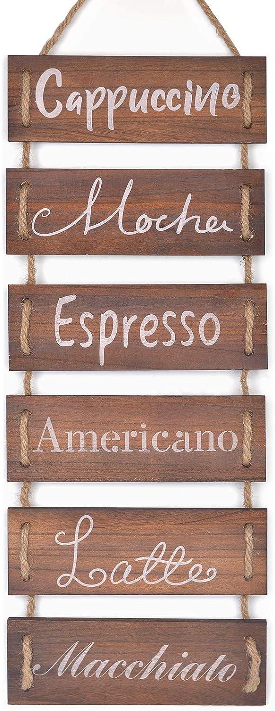 Soyo Hanging Wall Sign Rustic Wooden Wall Sign (Cappuccino, Mocha, Espresso, Americano, Latte, Macchiato) Wood Wall Decoration for Home Decor