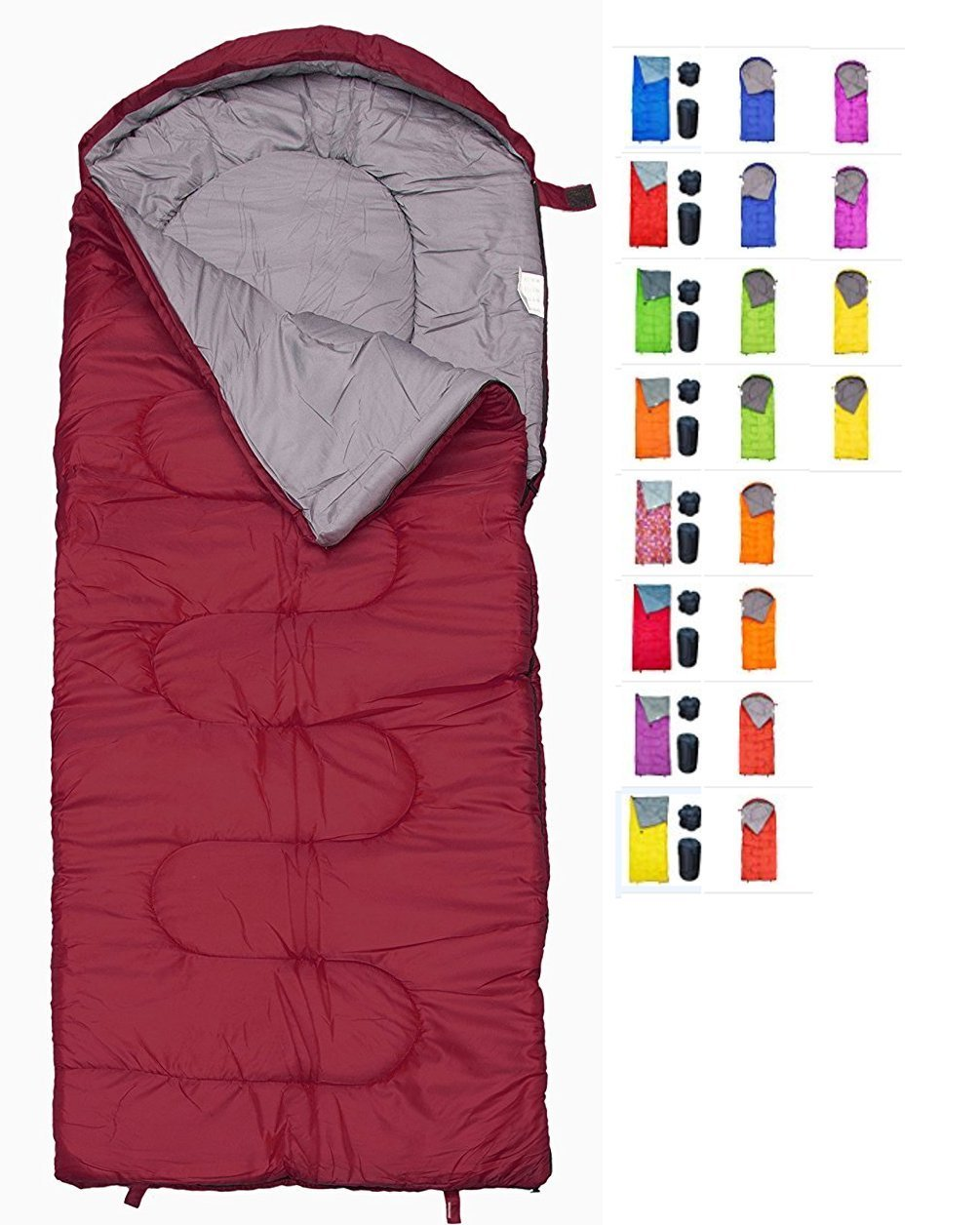 REVALCAMP Sleeping Bag for Cold Weather - 4 Season Envelope Shape Bags by Great for Kids, Teens & Adults. Warm and Lightweight - Perfect for Hiking, Backpacking & Camping (Bordeaux - Left Zip) by REVALCAMP