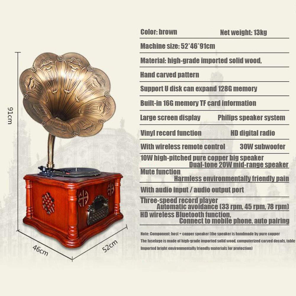 LVSSY-Record Player,Vintage 33/45/78 RPM Marrón Tocadiscos ...