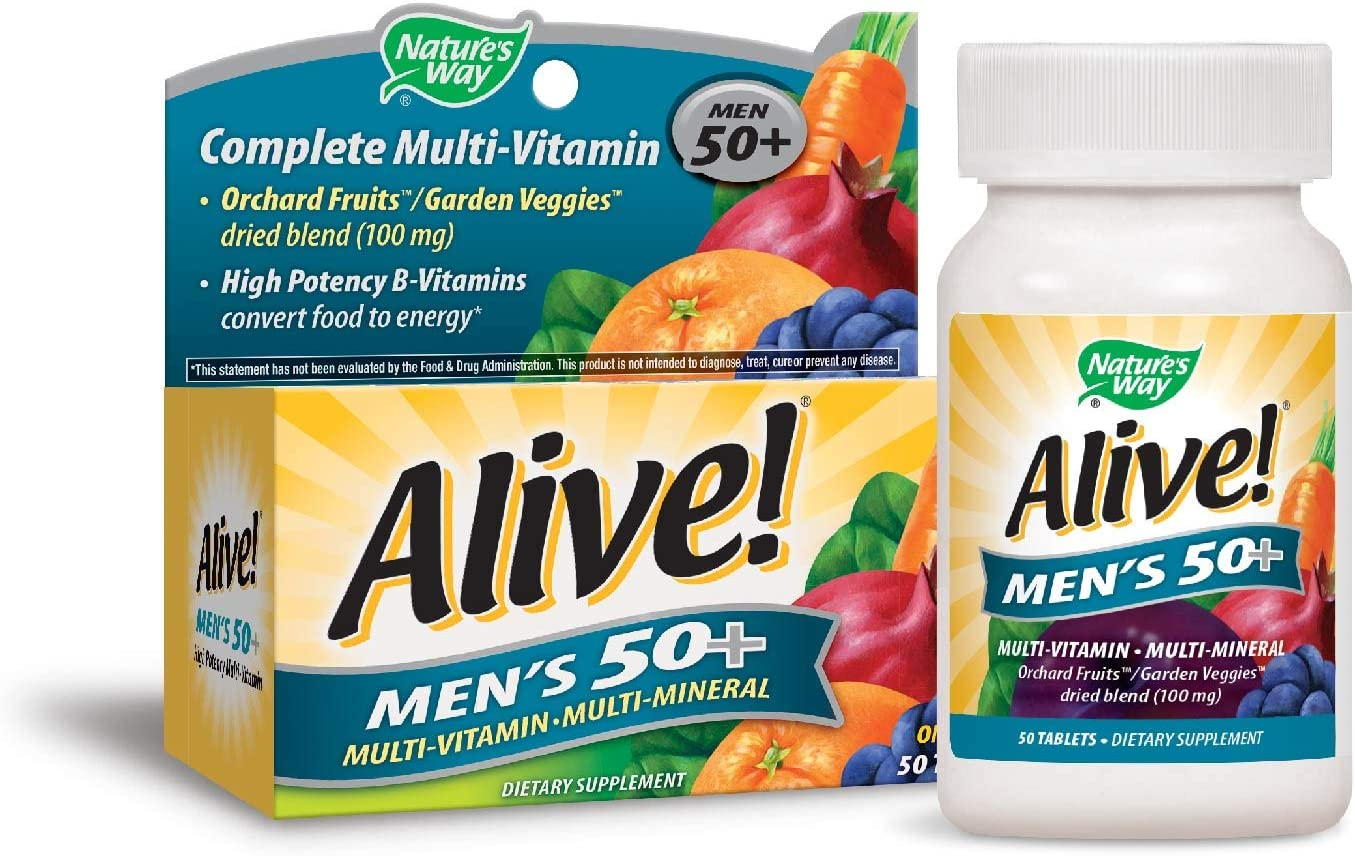 Nature's Way Alive!® Men's 50+ Energy Multivitamin Tablets, Fruit and Veggie Blend (100mg per serving), 50 Tablets