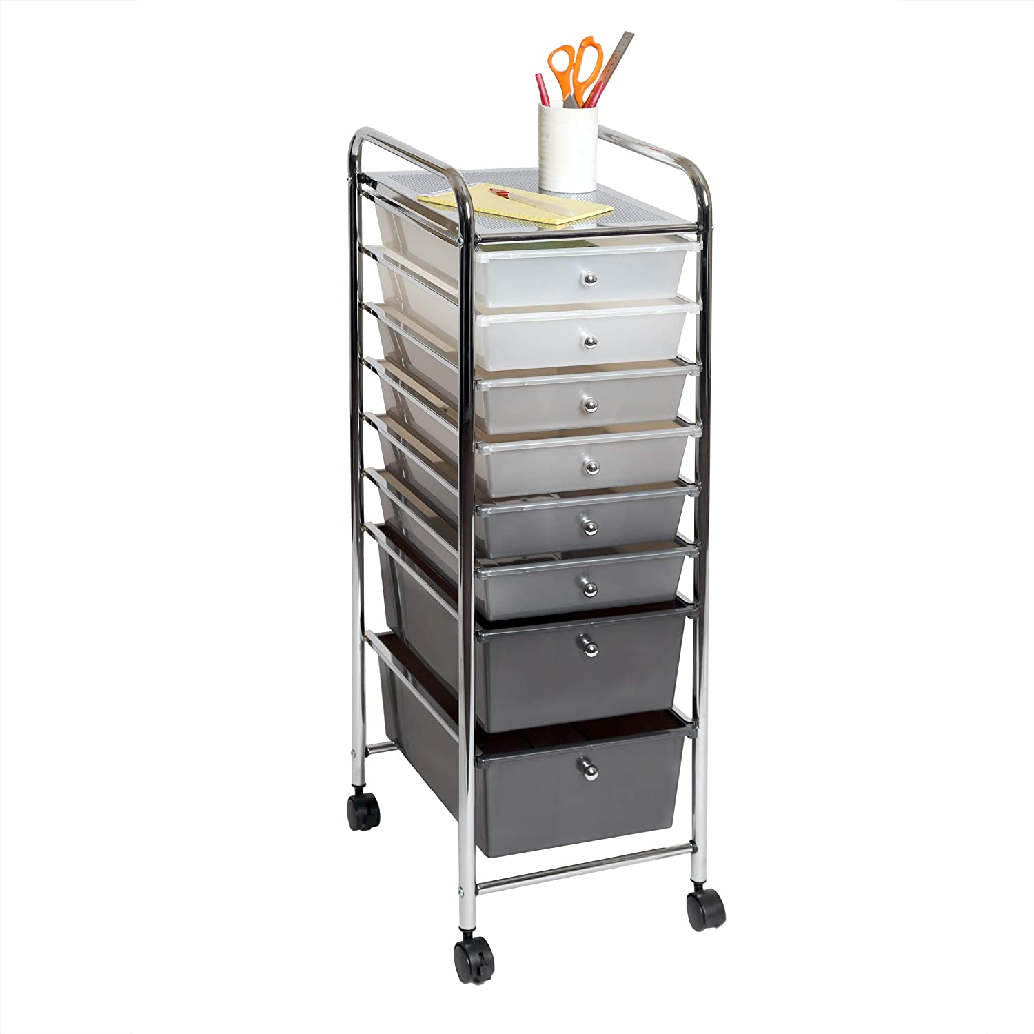 Seville Classics 8-Drawer Multipurpose Mobile Rolling Utility Storage Bin Organizer Cart, Gradient Gray: Home & Kitchen