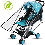 Baby Stroller Rain Cover Weather Shield Accessories Universal Size Protect from Rain Wind Snow Dust Insects Water Proof Ventilate Clear Food Grade Materia EVA Plastic Zipper Black White (black, small)