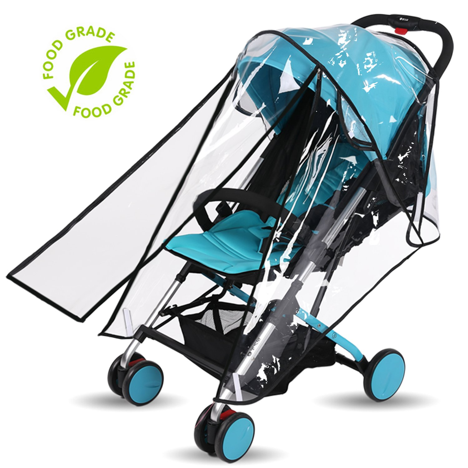 Baby Stroller Rain Cover Weather Shield Accessories Universal Size Protect from Rain Wind Snow Dust Insects Water Proof Ventilate Clear Food Grade Materia EVA Plastic Zipper Black White (black, small) by AncBace