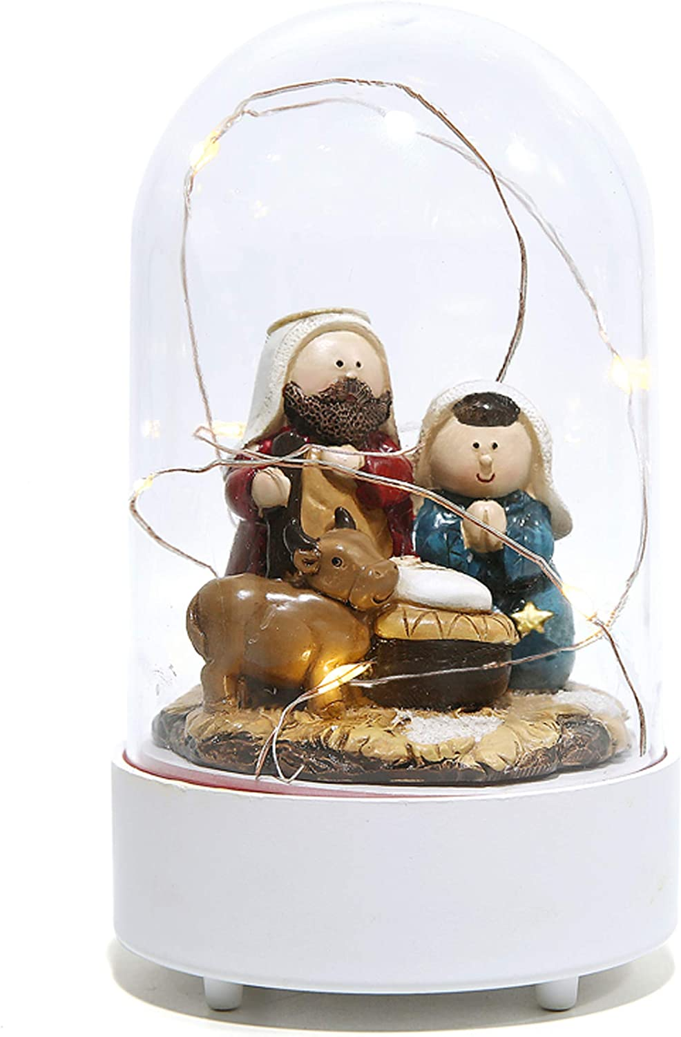 Manger Scene Holy Family Figurine Nativity Sets in Dome for Indoor Decoration and Display on Mantel or Window Sill