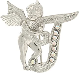 "product image for 1928 Jewelry Silver-Tone Guardian Angel Script Initial""T"" Pin"