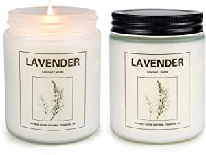 CREASHINE Lavender Candles for Home Scented, Aromatherapy Candle 2 pcs, Natural Soy Wax Set, Women Gift with Strongly Fragrance Essential Oils Jar Candles