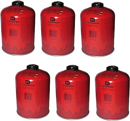 Lote de 6 cartuchos de gas de 460 g butano propano Mix KEMPER para bombona de gas con válvula 7/16, bombona de camping EN 417