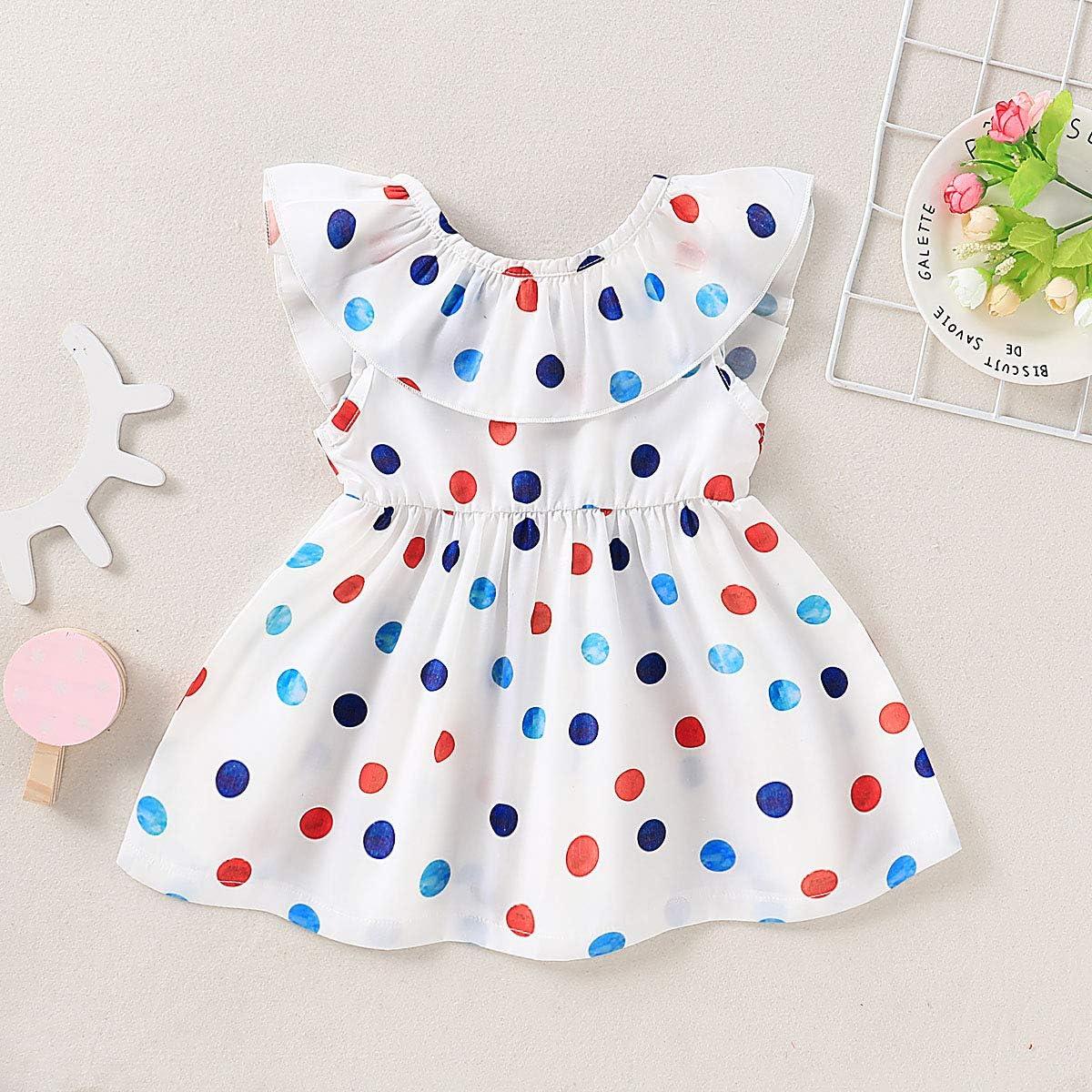 Rainbow Paint Toddler Baby Girls Cotton Ruffle Short Sleeve Top Basic T-Shirt 2-6T