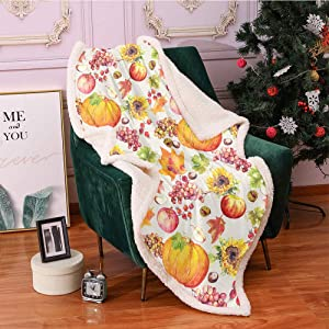 SeptSonne Thanksgiving Plush Blanket,Fruits and Vegetables Pumpkin Apples Grape with Autumn Leaves in Watercolors Light Thermal Blanket,Print Artwork Fuzzy Blanket(40x50 Inches,Multicolor)