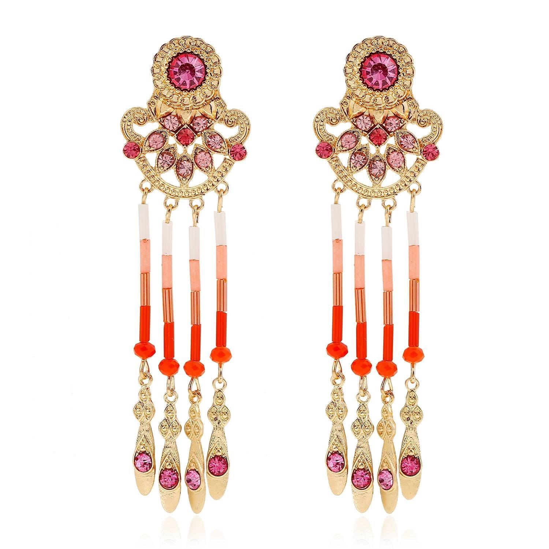 Hipoalergénica Moda Tendencia de Alta Calidad Rhinestone Hoja de Diamante con Flecos Pendientes de Joyería , rojo