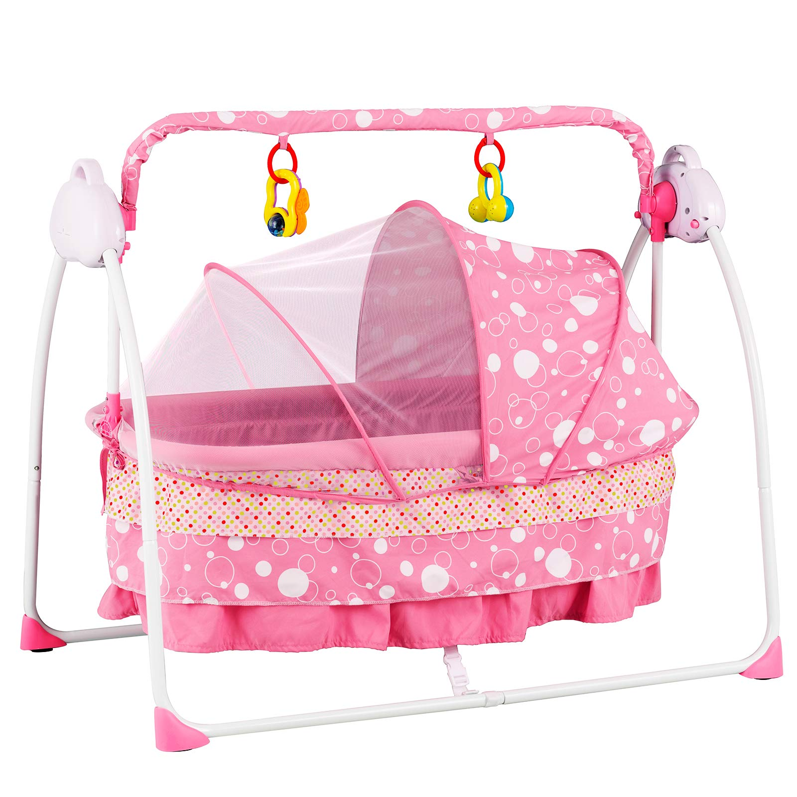 Uenjoy Automatic Baby Basket Electric Rocking Multifunction Baby Swing Cradle Bed,Remote or Panel Control, Music, Timing, Adjustable Speed, Pink by Uenjoy