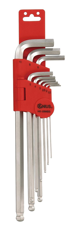 S2 Material Genius Tools 9 Piece Metric Wobble Hex Key Wrench Set HK-09MBS