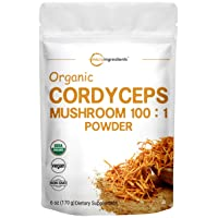 Sustainably US Grown, Organic Cordyceps Mushroom Extract 100:1, 6 Ounce, Cordyceps Powder Organic, Supports Energy and Immune Health, No GMOs and Vegan Friendly