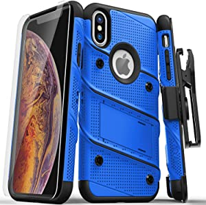 ZIZO Bolt Series for iPhone Xs Max case Military Grade Drop Tested with Tempered Glass Screen Protector, Holster, Kickstand Blue Black