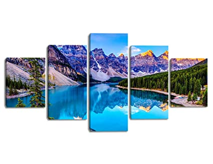 Kalawa Fresh Look Color Wall Art Painting Lake And Mountain Range Rocky 5 Piece Mountains Landscape Print On Canvas For Living Room Stretched By