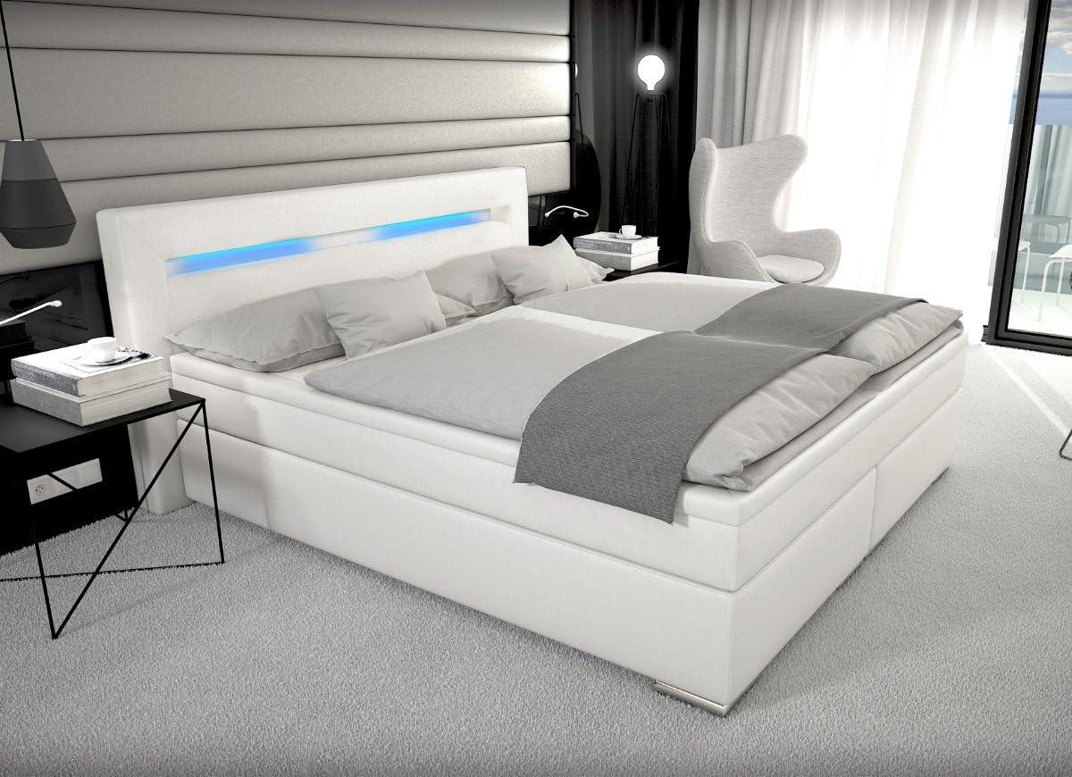 Cama con somier de diseño París, con cajón e iluminación LED ...