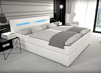 Boxspringbett weiß mit bettkasten  Designer Boxspring Bett Paris mit Bettkasten + LED Beleuchtung ...