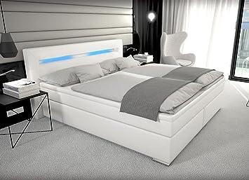 Boxspringbett weiß leder  Designer Boxspring Bett Paris mit Bettkasten + LED Beleuchtung ...