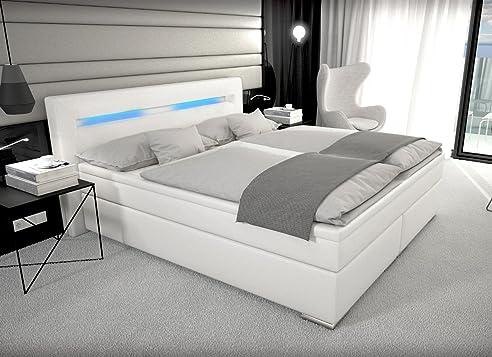 Schlafzimmer betten mit bettkasten  Designer Boxspring Bett Paris mit Bettkasten + LED Beleuchtung ...