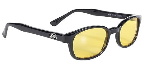 Pacific Coast Original KDs Biker Sunglasses (Black Frame/Yellow Lens)