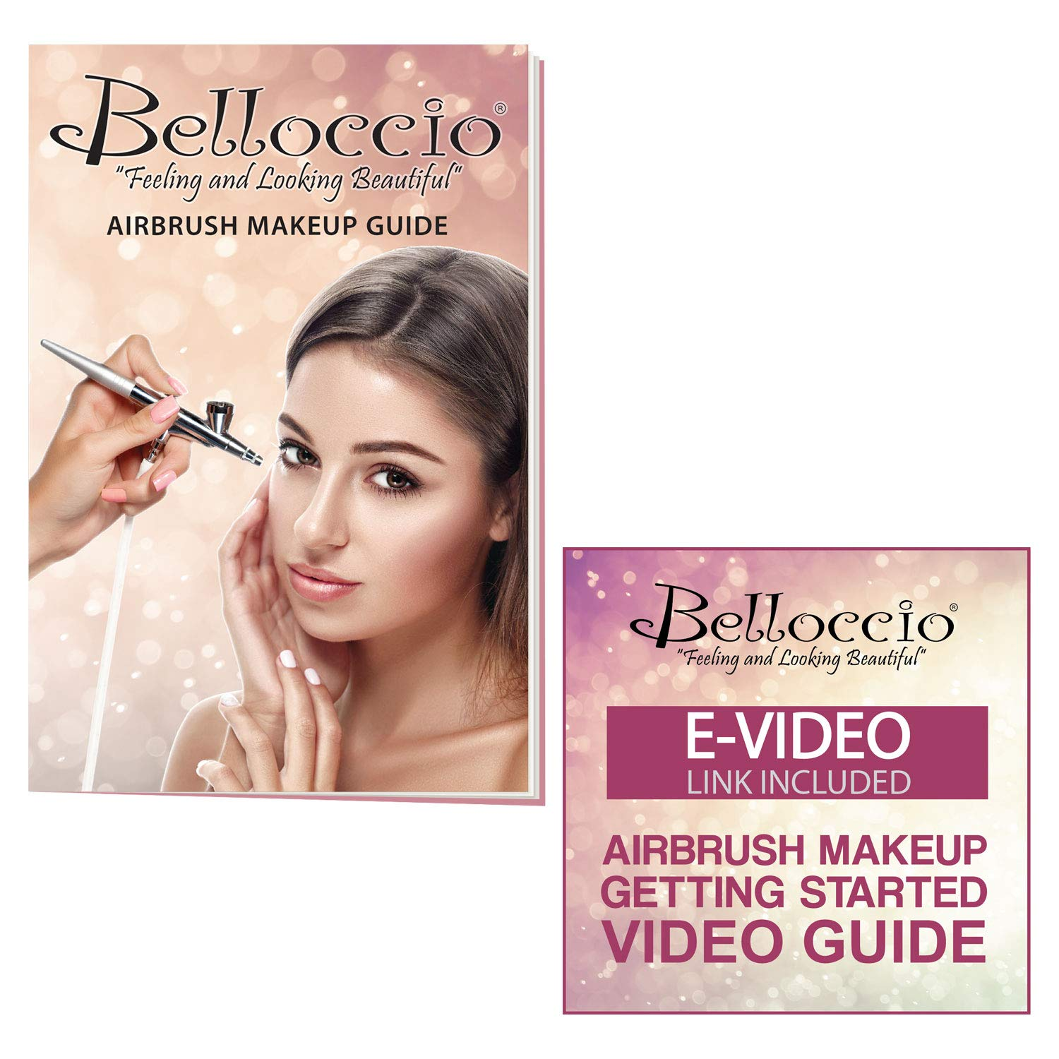 Belloccio Professional Beauty Airbrush Cosmetic Makeup System with 4 Tan Shades of Foundation in 1/4 Ounce Bottles - Kit Includes Blush, Bronzer and Highlighter and 3 Bonus Items and a Video Link by Belloccio (Image #5)