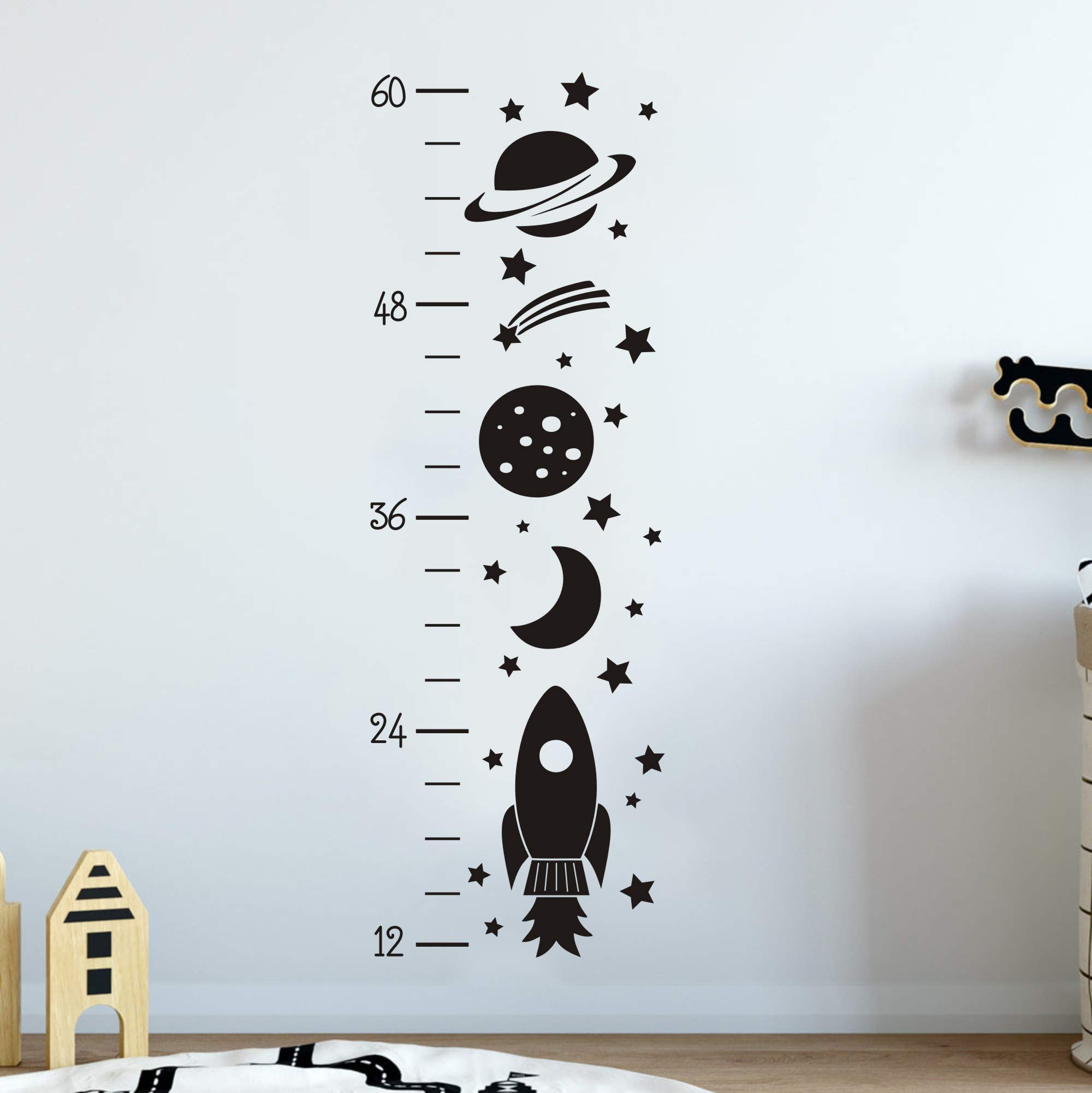 JURUOXIN Growth Chart Wall Decal Rocket Art Vinyl Removable Height Chart Stickers DIY Kids Boy Nursery Room Decoration YMX34 (Black)