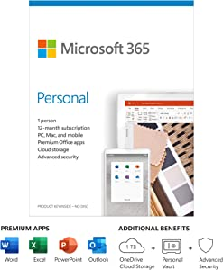Microsoft 365 Personal 1 Year Subscription For 1 User - For Windows, macOS, iOS, and Android devices - PC/Mac Keycard - 1TB OneDrive cloud storage - Premium Office apps - 12-month subscription