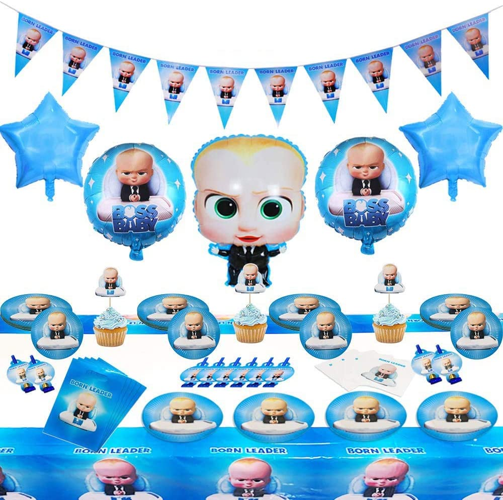 Boss Birthday Decorations, Baby Boss Party Supplies Set, Baby Party Supplies, Children Carnival Party Supplies Decoration - Banner, Balloon, Cake Topper, Napkins, Blowouts, Pennant(Set Of 94)