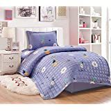 Kids Compressed 3Piece Comforter Set, Single Size, Fruit 2, Gray,