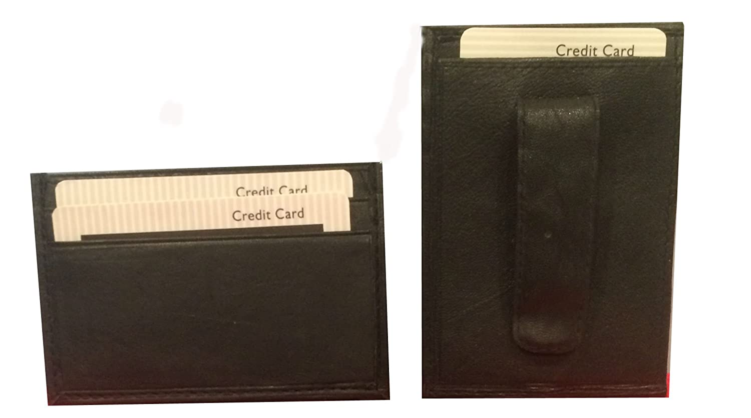 RIVER RIDGE LEATHER MONEY CLIP WITH CREDIT CARD POCKETS BLACK