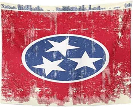 Semtomn Tapestry Wall Hanging Nashville Dirty Flag Of Tennessee Sign Symbol Vintage Abstract 60 X 80 Home Decor Art Tapestries For Bedroom Living Room Dorm Apartment Home Kitchen