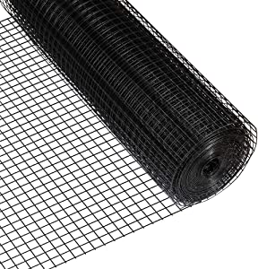 Fencer Wire 16 Gauge Black Vinyl Coated Welded Wire Mesh Size 1 inch by 1 inch for Home and Garden Fence, Protect Chickens Rabbits and Farmed Animals (b. 2 ft. x 100 ft.)