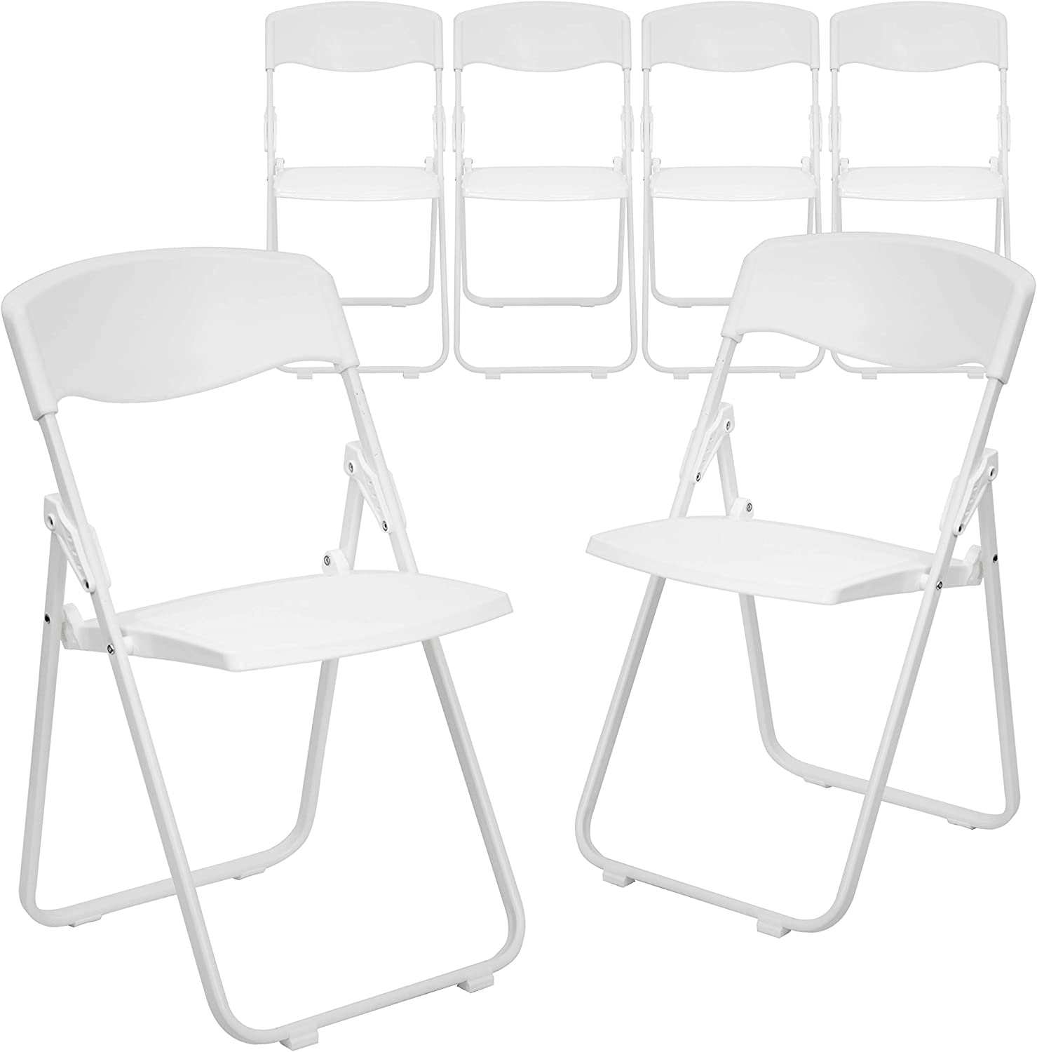 Amazon Com Flash Furniture 6 Pack Hercules Series 500 Lb Capacity Heavy Duty White Plastic Folding Chair With Built In Ganging Brackets Furniture Decor