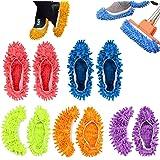 5 Paare Staubmopp Wischmop Bodenreiniger Hausschuhe Schuhreinigung Komfortable waschbar,QILICZ Polieren Staubwischen reinigen Fuß Socken Schuhe Mop Hausschuhe Multifunktion in 5 Farben