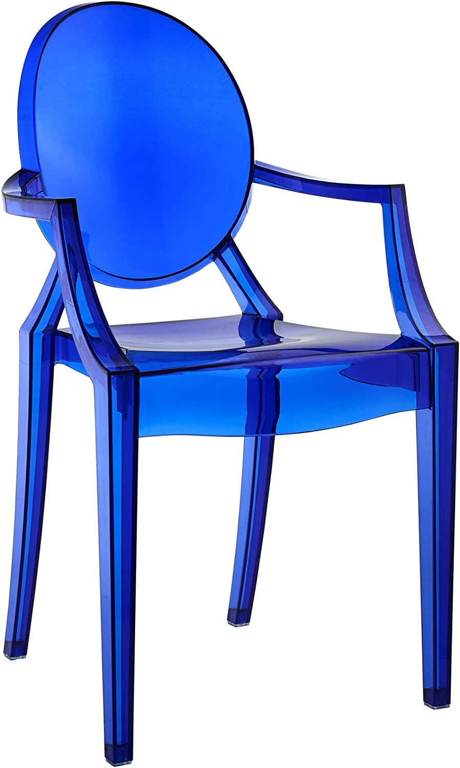 Modway Casper Modern Acrylic Stacking Kitchen and Dining Room Arm Chair in Blue - Fully Assembled