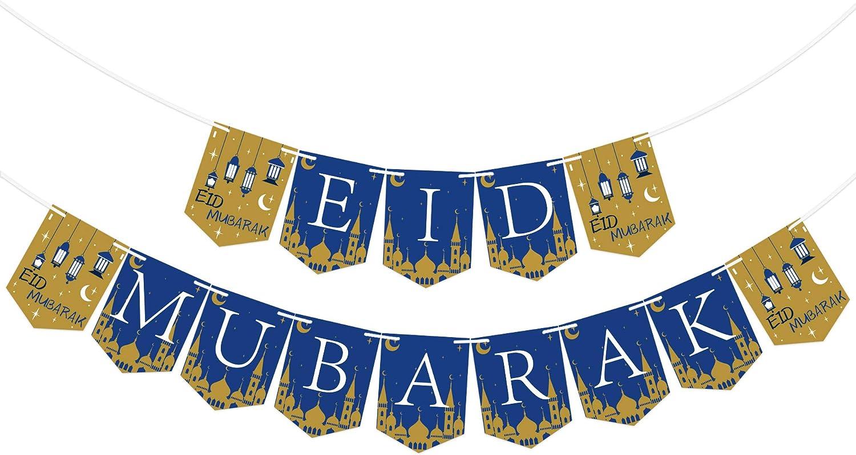 Amazon Com Eid Mubarak Banner Eid Mubarak Decoration Ramadan Party Decorations Supplies Eid Mubarak Banner Bunting No Assembled Required Kitchen Dining