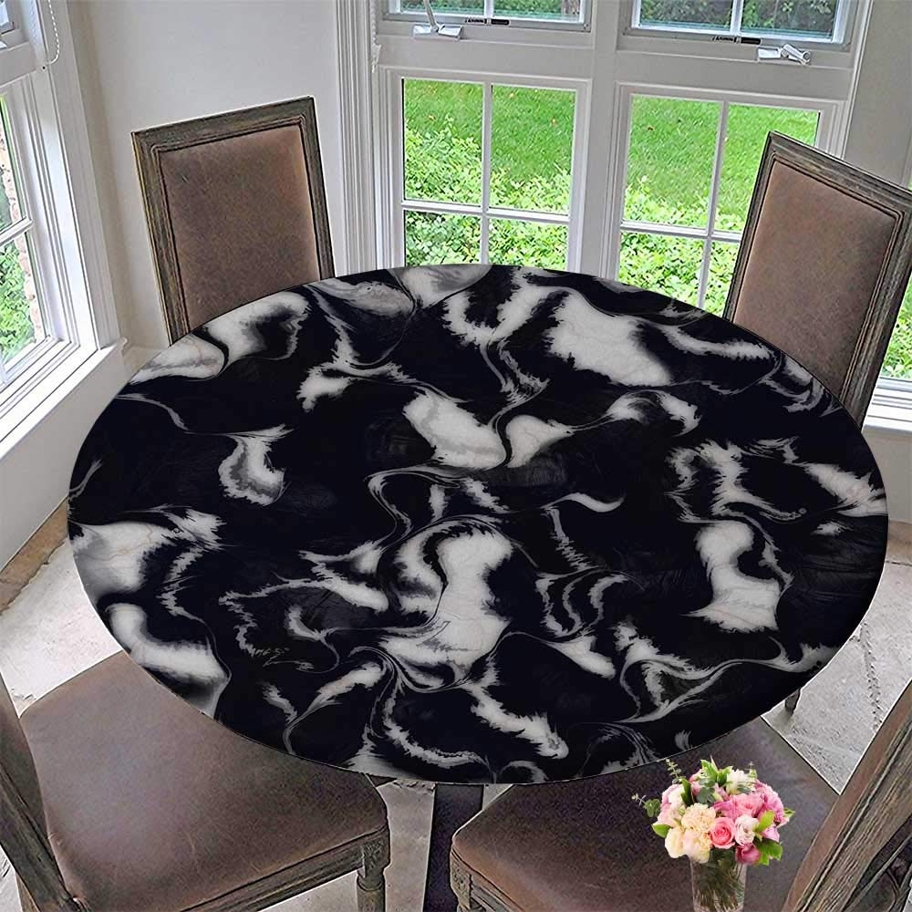 """PINAFORE HOME The Round Table Cloth Black Marble Background for Birthday Party, Graduation Party 50""""-55"""" Round (Elastic Edge)"""