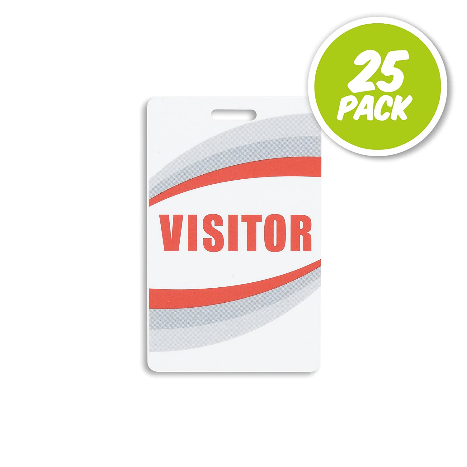 Visitor ID Badges - Preprinted Guest Plastic Cards - Reusable - 25 Pack