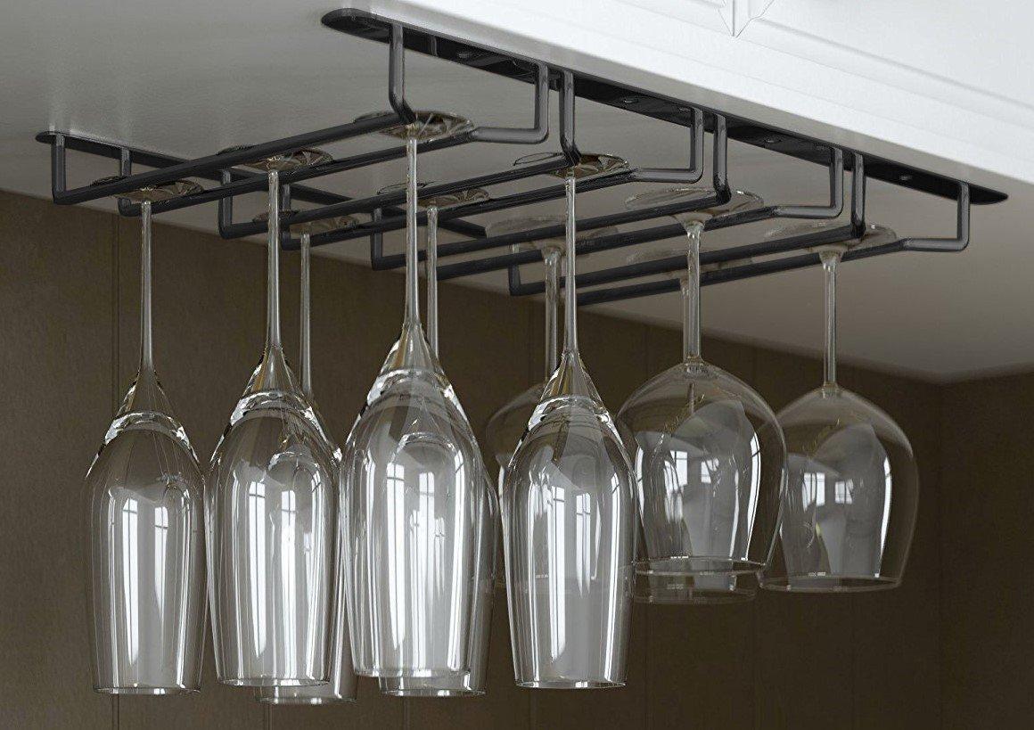 JMiles Under Cabinet Hanging Stemware Rack Hold Up To 12 Wine Glasses (Black)