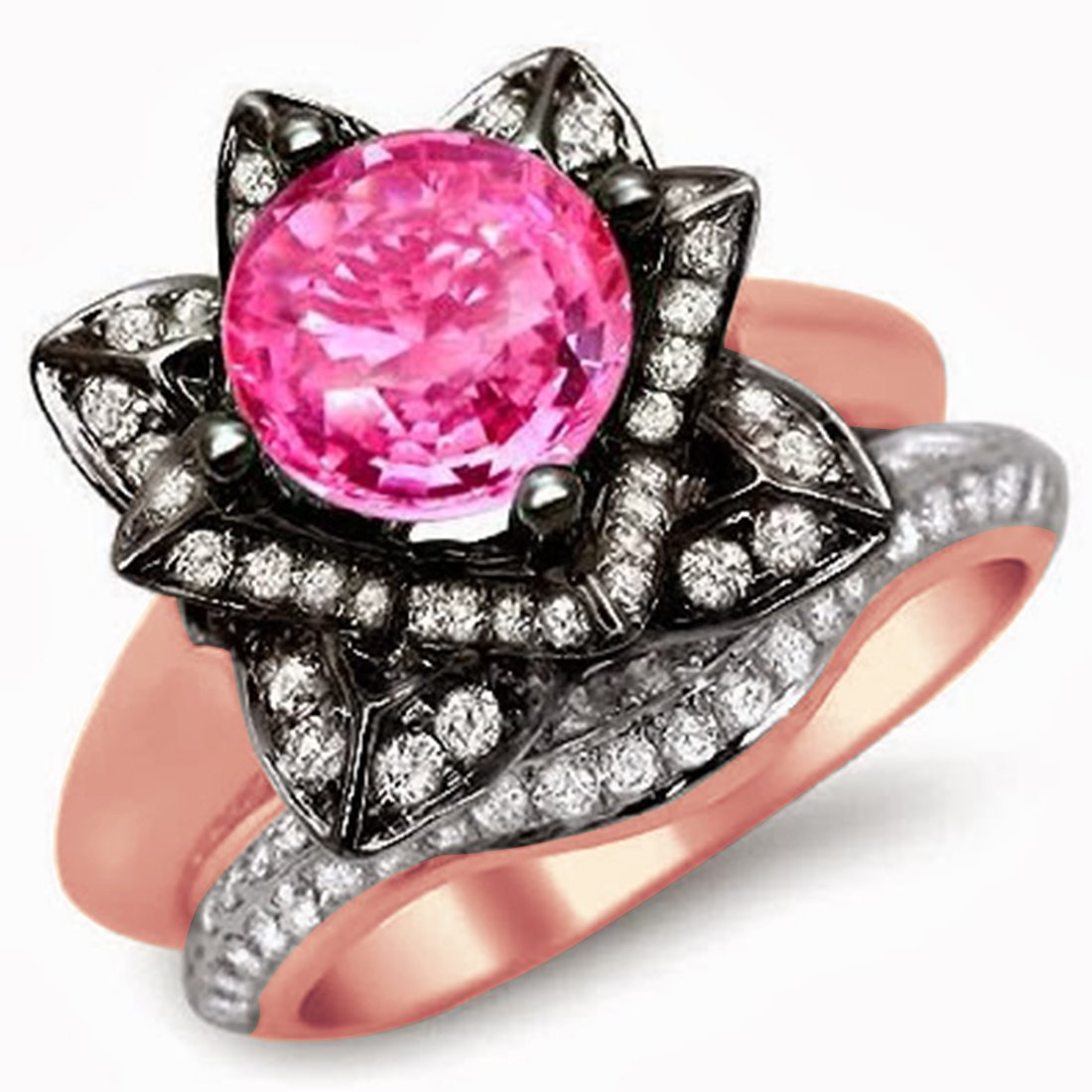 Smjewels 3.35 Ct Round Pink Sapphire Lotus Flower Engagement Ring Set In 14K Rose Gold Plated