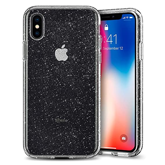 new style 6e59e e7dc0 Spigen Liquid Crystal Designed for Apple iPhone Xs Case (2018) / Designed  for Apple iPhone X Case (2017) - Glitter Crystal Quartz