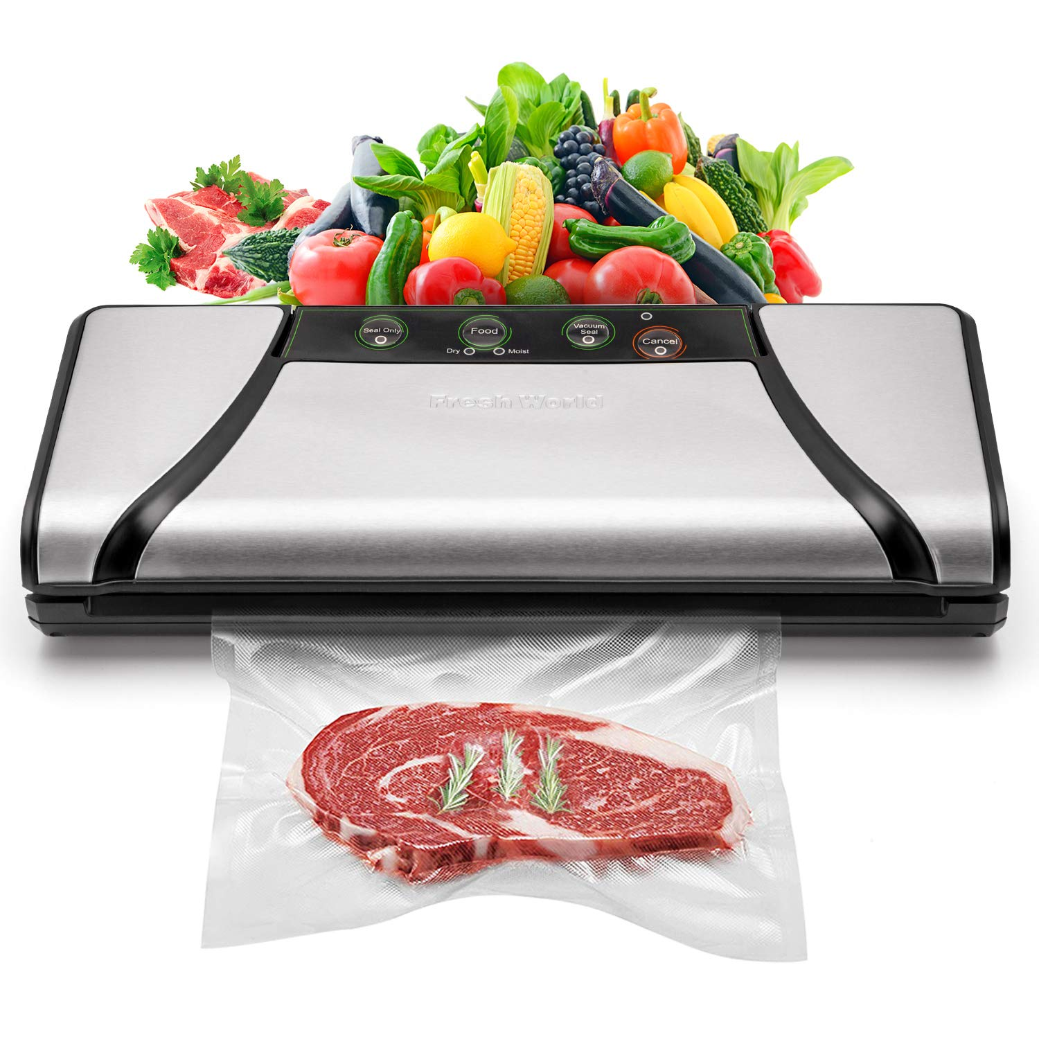 Vacuum Sealer, 4-in-1 Automatic Food Saver with Cutter, Stainless Stee Vacuum Packing Machine for Dry&Moist Food,(TVS-2019) by Fresh World