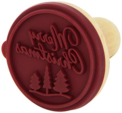 merry christmas cookie stamp wooden handle with silicone - Christmas Stamp