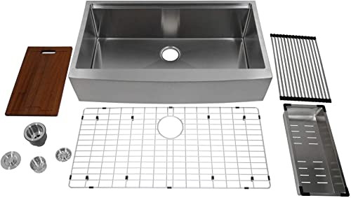 Auric 36 Retro-fit Curved Apron-front Workstation Farmhouse Kitchen Sink Stainless Steel Short Apron Single Bowl – SCAL-16-36-retro SGL COMBO