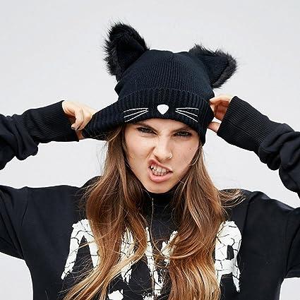 b5bb2e8c5357e6 Hats for Women, Knit Beanie Skullies Cap Baggy Beret Hat with Cat Ears Warm  Flexible